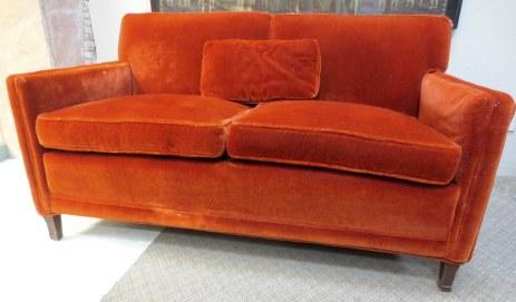 Refined Orange Mohair loveseat