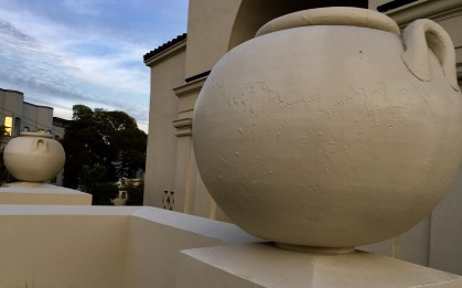 The urns at Woods Hall.