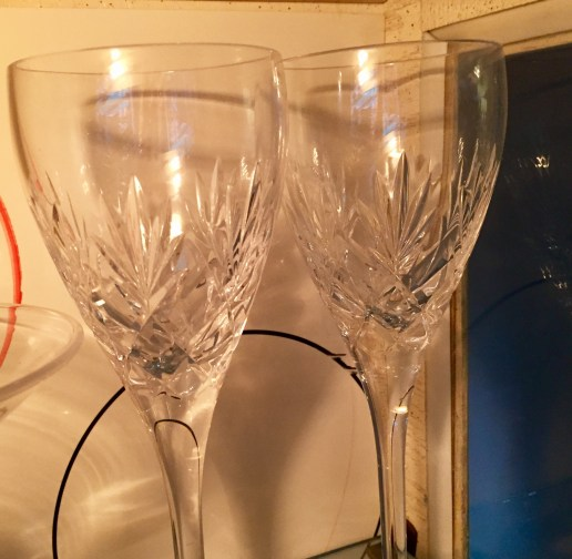 "Wineglasses engraved ""Titanic"" that were held in reserve at the home port in Ireland. Apparently they were expecting her to come back."
