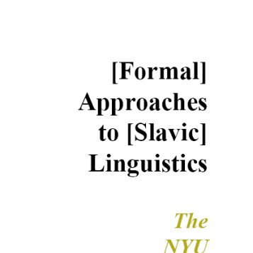 Formal Approaches to Slavic Linguistics #24: The NYU