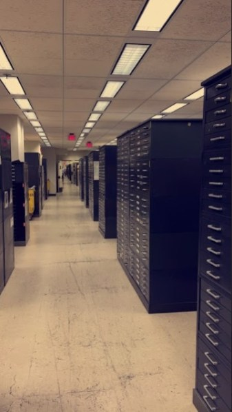 I spend a majority of my afternoons in the Geography and Maps Division working on indexing maps of the Netherlands. This is a photo of the endless rows of filing cabinets filled with millions of maps that the Library holds. These vaults hold maps from all over the world and are kept at super cold temperatures for preservation purposes.