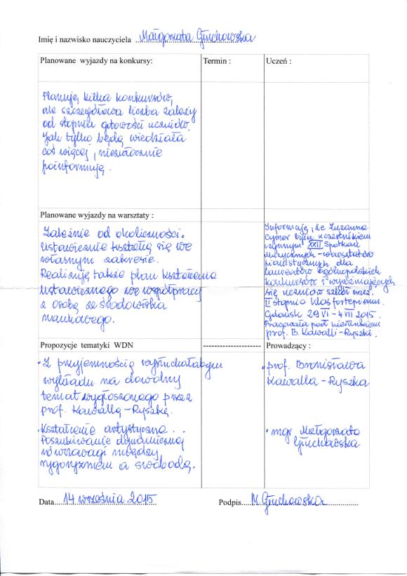 Plan WDN Małgorzaty Głuchowskiej na rok 2015-16