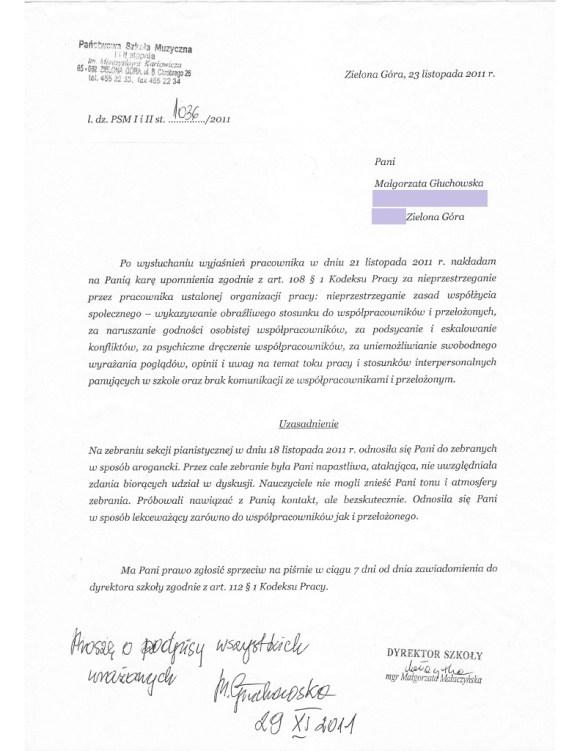 Upomnienie nałożone na Małgorzatę Głuchowską 29 listopada 2011 w Państwowej Szkole Muzycznej I i II stopnia w Zielonej Górze.