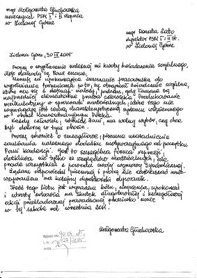 List Małgorzaty Głuchowskiej do Dyrektor Państwowej Szkoły Muzycznej I i II stopnia 30 kwietnia 2015