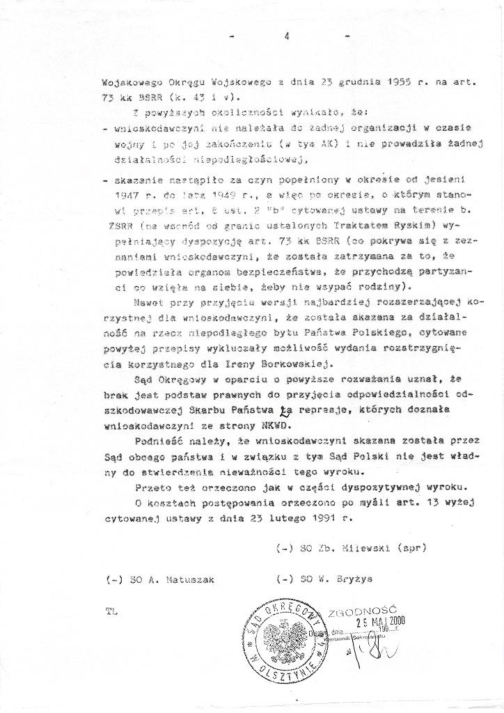 Wyrok Sądu Okręgowego w Olsztynie 20 marca 2000 strona 5/5