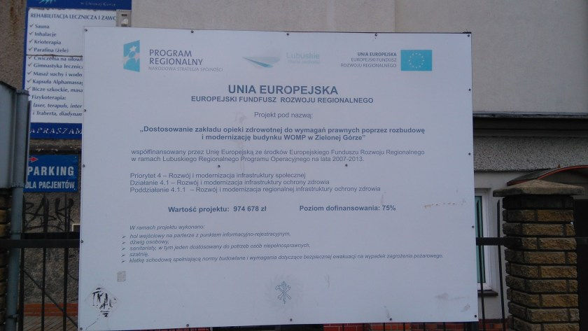 Poland, the criminal state. Renovation and expansion was worth some 975 000 PLN, which is roughly 227 000 Euro. 75 percent of this amount, i.e. about 170 000 Euro was provided by the EU's European Regional Development Fund.