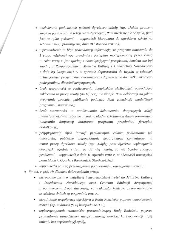 Pismo dyrektor Państwowej Szkoły Muzycznej I i II stopnia im. Mieczysława Karłowicza w Zielonej Górze do Małgorzaty Głuchowskiej 10 lutego 2012; strona 2