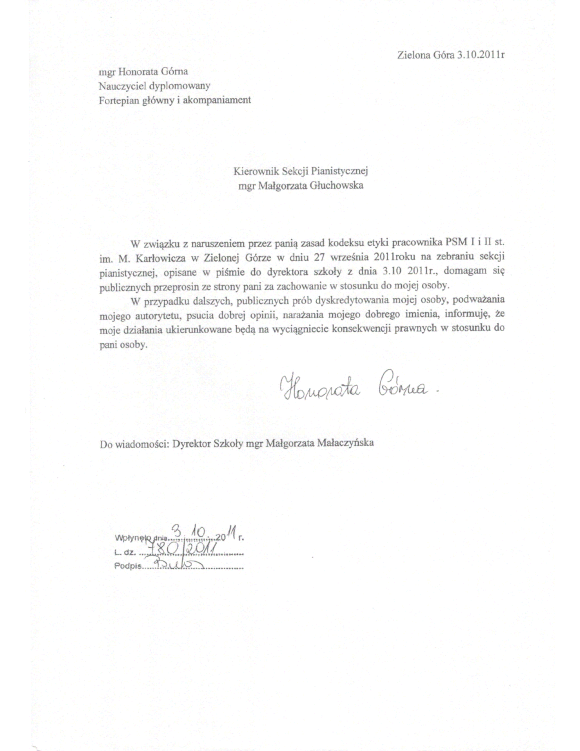 Pismo H. Górnej, członkini sekcji pianistycznej do Małgorzaty Głuchowskiej, kierownik sekcji pianistycznej
