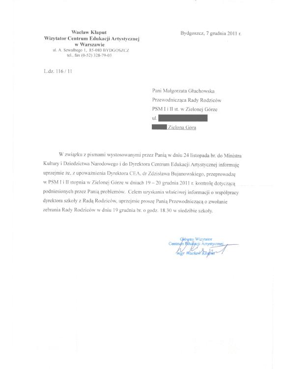 Pismo wizytatora Wacława Kłaputa do Małgorzaty Głuchowskiej 7 grudnia 2011. Kłaput zaadresował pismo do przewodniczącej rady rodziców, choć wiedział, że została odwołana z tej funkcji 29 listopada 2011.