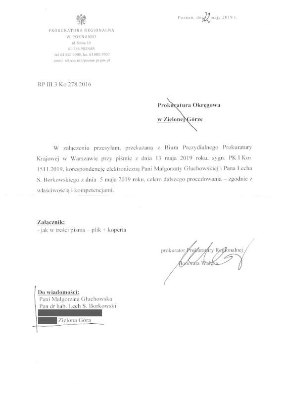 Prokuratura Regionalna Poznań 22 maja 2019