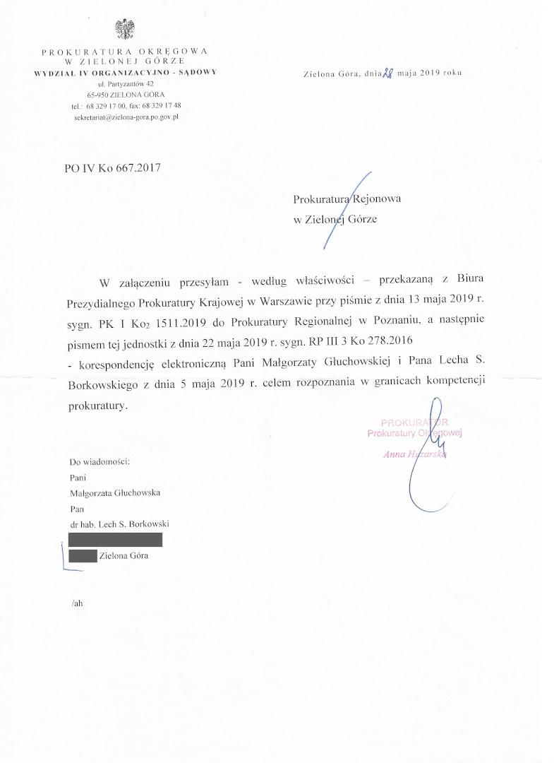 Prokuratura Okręgowa Zielona Góra 28 maja 2019