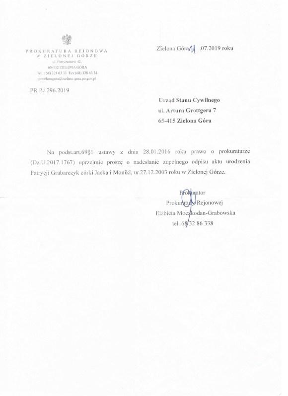 Prokuratura Rejonowa Zielona Góra lipiec 2019