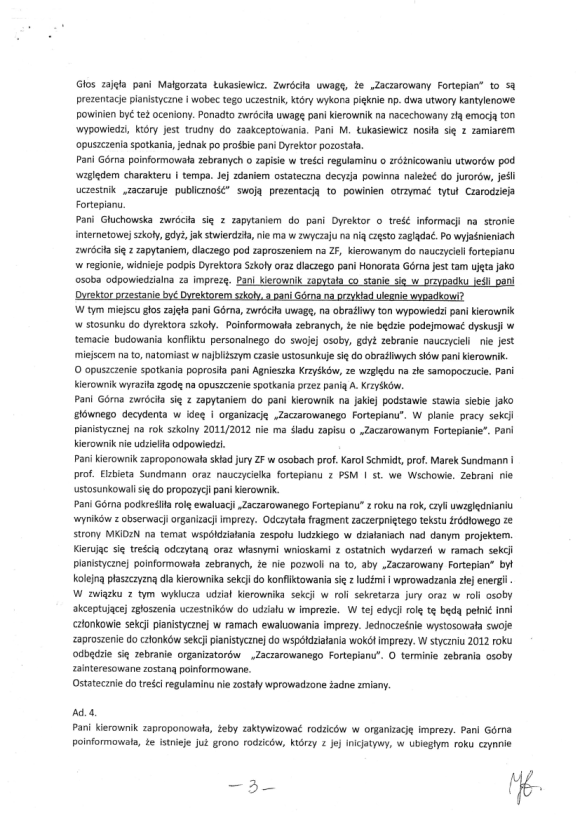 Honorata Górna, Protokół zebrania nauczycieli sekcji pianistycznej PSM w Zielonej Górze 18 listopada, strona 3