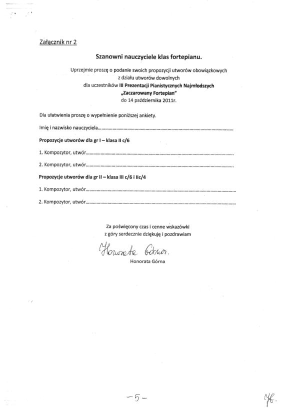 Honorata Górna, Protokół zebrania nauczycieli sekcji pianistycznej PSM w Zielonej Górze 18 listopada, strona 5