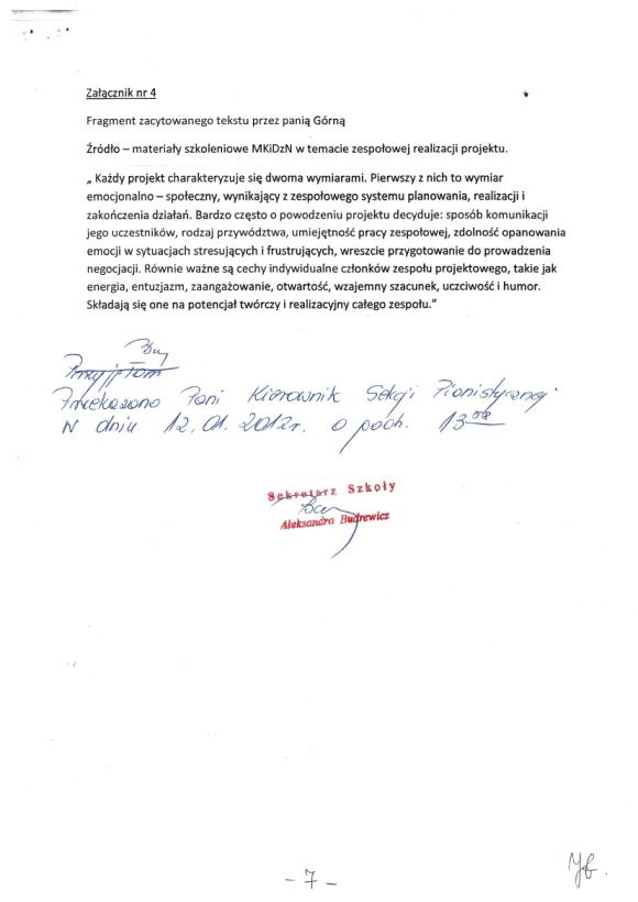 Honorata Górna, Protokół zebrania nauczycieli sekcji pianistycznej PSM w Zielonej Górze 18 listopada, strona 7