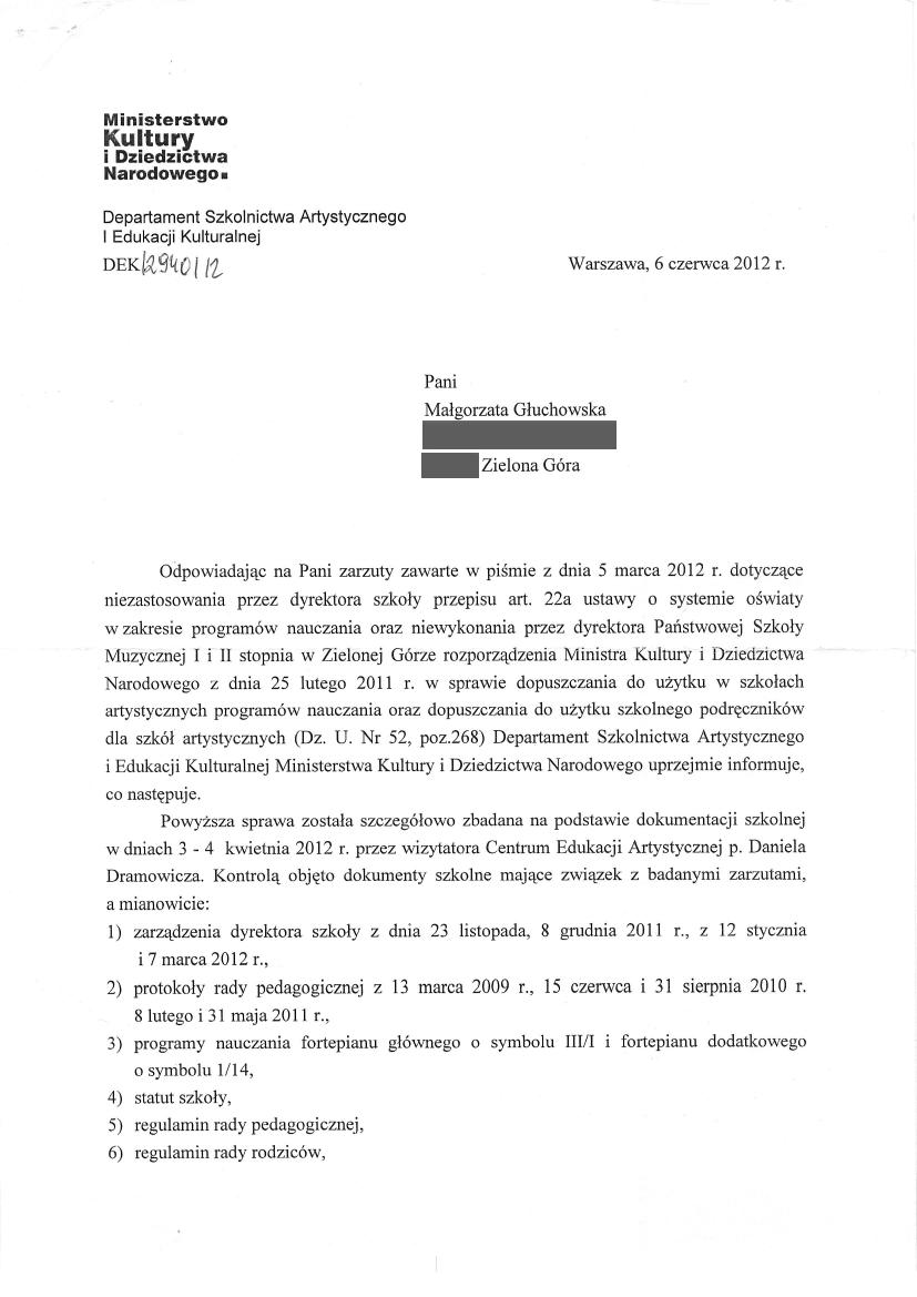 Pismo Ministerstwa Kultury, Dyrektor Departamentu Szkolnictwa Artystycznego Wiktor Jędrzejec 6 czerwca 2012, strona 1