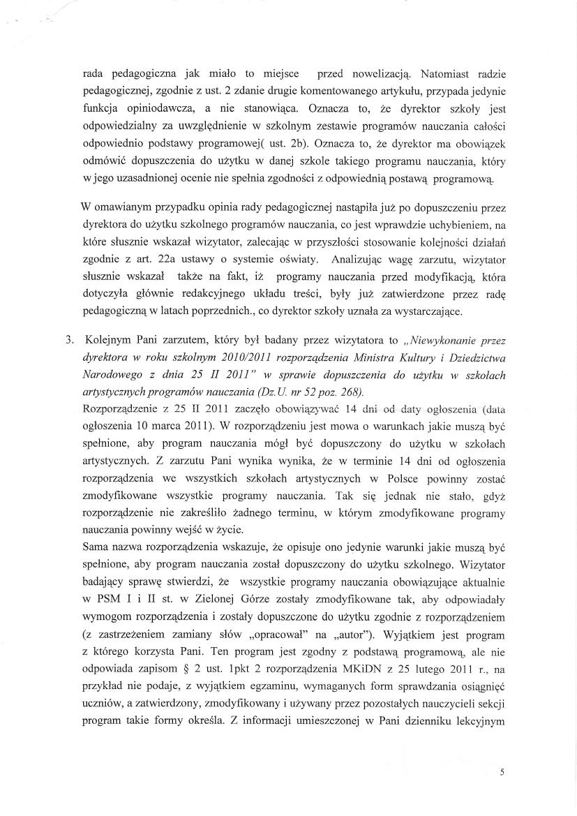 Pismo Ministerstwa Kultury, Dyrektor Departamentu Szkolnictwa Artystycznego Wiktor Jędrzejec 6 czerwca 2012, strona 5