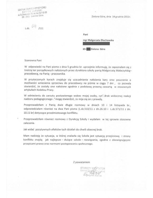 Krystyna Karcz, wizytator regionu lubuskiego CEA w Ministerstwie Kultury, pismo do Małgorzaty Głuchowskiej 14 grudnia 2011, 2