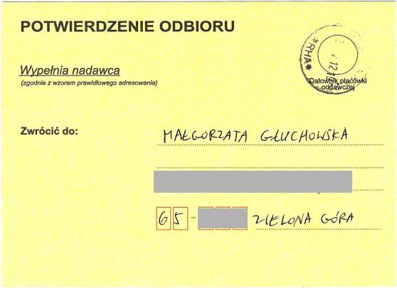 Małgorzata Głuchowska list do Wiktora Jędrzejca, Dyrektora Departamentu Szkolnictwa Artystycznego i Edukacji Kulturalnej, Ministerstwo Kultury, potwierdzenie odbioru, 28 lutego 2012