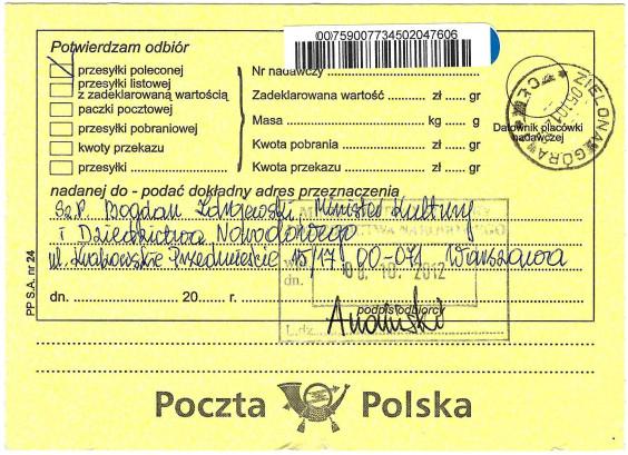 Małgorzata Głuchowska, list polecony. potwierdzenie odbioru, Bogdan Zdrojewski, 5 października 2010, strona 1