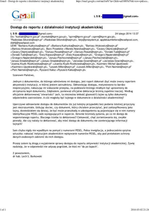 List Lecha S Borkowskiego w sprawie dostępu do informacji z działalności instytucji akademickiej, Uniwersytetu im. Adama Mickiewicza w Poznaniu