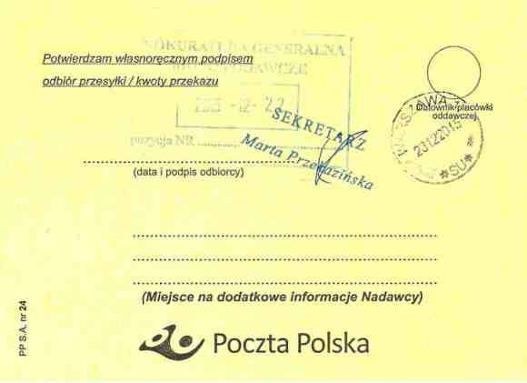 Delivery confirmation of certified letter from Małgorzata Głuchowska to Prosecutor General of Poland Andrzej Seremet 16 December 2015, page 2; Potwierdzenie dostarczenia listu poleconego Małgotrzaty Głuchowskiej do Prokuratora Generalnego Andrzeja Seremeta 16 grudnia 2015, strona 2