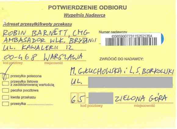 Confirmation of delivery, certified mail, letter from Małgorzata Głuchowska and Lech S Borkowski to UK Ambassador in Warsaw Robin Barnett, 2 April 2016, page 1