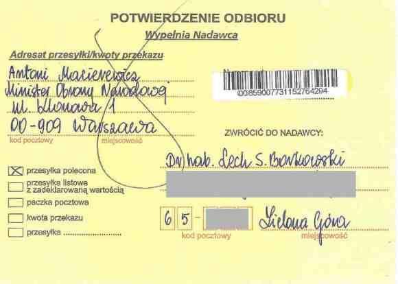 Potwierdzenie odbioru listu poleconego dra hab. Lecha S. Borkowski do ministra obrony Antoniego Macierewicza 11 kwietnia 2016, strona 1
