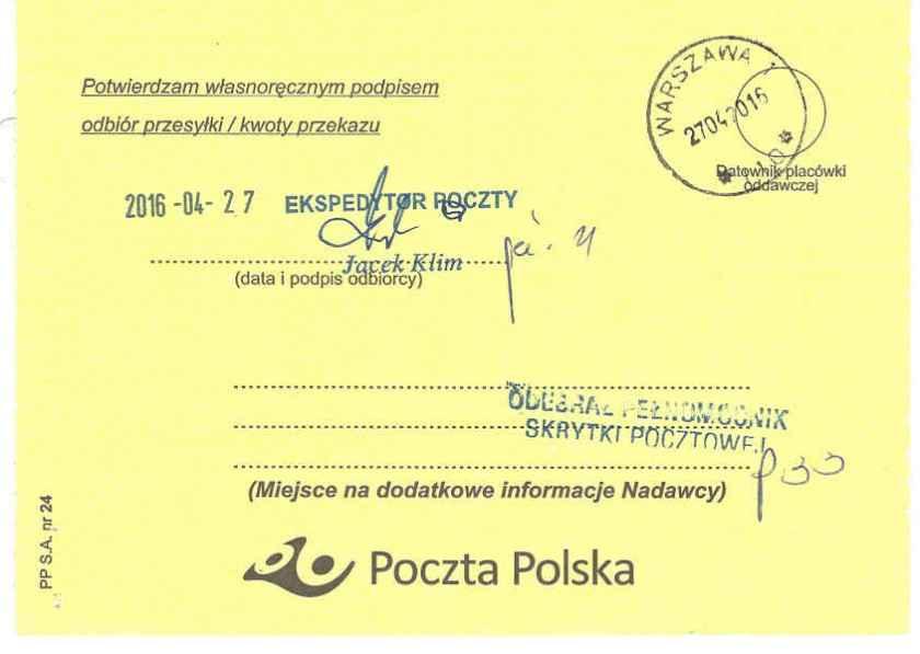 Potwierdzenie dostarczenia listu poleconego Małgorzaty Głuchowskiej i Lecha S Borkowskiego do prokuratora generalnego Zbigniewa Ziobro 25 kwietnia 2016, strona 2