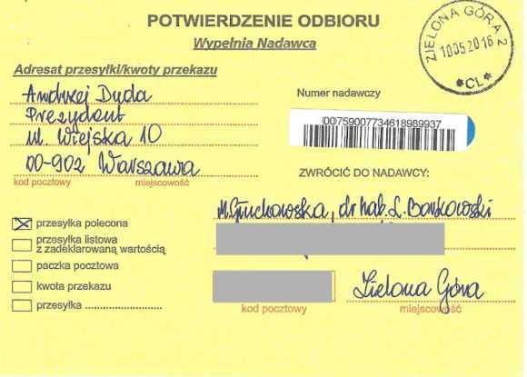 Potwierdzenie odbioru list do prezydenta Polski, Małgorzata Głuchowska, dr hab. Lech S Borkowski, 10 maja 2016, strona 1