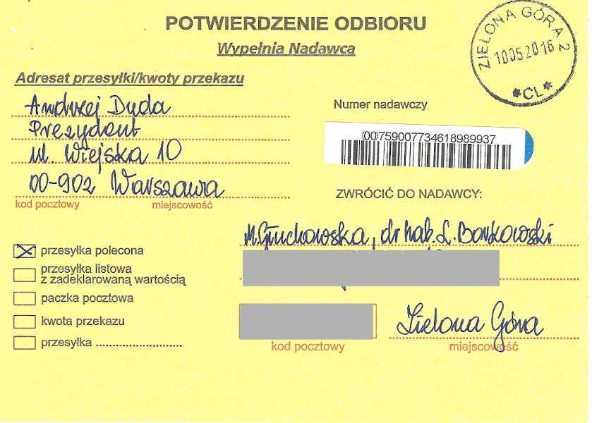 Confirmation of delivery of certified letter, page 1; Małgorzata Głuchowska, Lech S. Borkowski, letter to the President of Poland; 10 May 2016; Potwierdzenie odbioru list do prezydenta Polski, Małgorzata Głuchowska, dr hab. Lech S Borkowski, 10 maja 2016, strona 1
