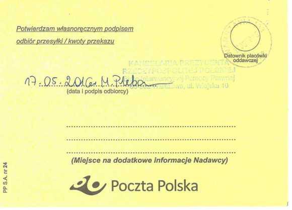 Potwierdzenie odbioru listu poleconego, Małgorzata Głuchowska, dr hab. Lech S. Borkowski, list do Prezydenta Polski, 10 maja 2016, strona 2