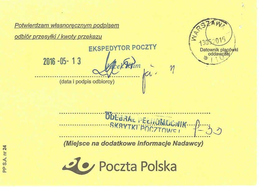 Potwierdzenie dostarczenia, list polecony, nadawca: Małgorzata Głuchowska i dr hab. Lech S Borkowski, odbiorca: Prokurator Generalny Zbigniew Ziobro, 10 maja 2016, strona 2; Delivery confirmation, certified letter from Małgorzata Głuchowska and Lech S. Borkowski to Prosecutor General of Poland Zbigniew Ziobro, 10 May 2016, page 2