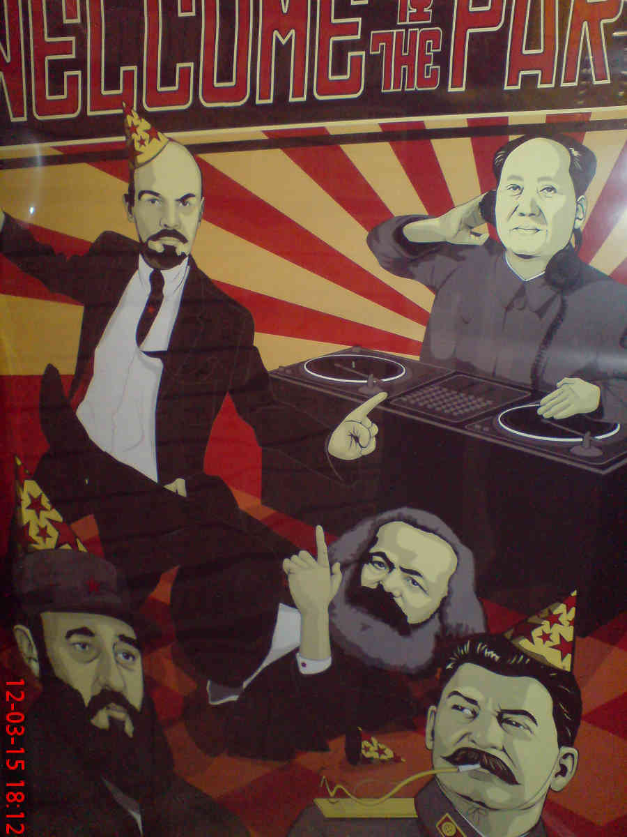 """""""Welcome to the Party"""" poster at the Auchan supermarket in Zielona Góra, Poland; Marx, Lenin, Stalin, Mao, Castro; 12 March 2015"""
