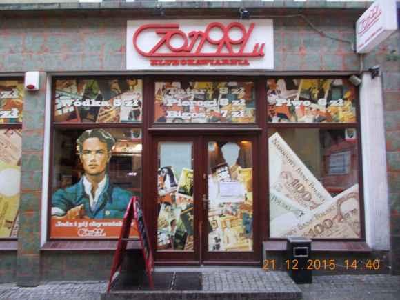 Zielona Góra in Poland, Krawiecka Street, Restaurant front. 21 December 2015
