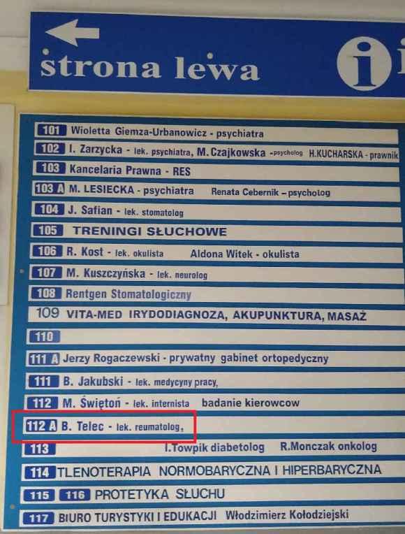 Bożena Telec jako reumatolog na liście w biurowcu przy ul. Westerplatte w Zielonej Górze