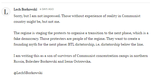 Lech S Borkowski comment on The Times article 19 October 2020