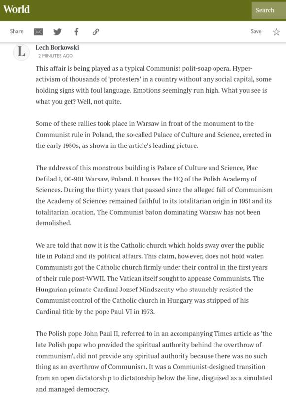 Lech S Borkowski comment on The Sunday Times article 8 November 2020, part 1