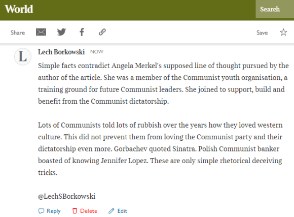 Lech S Borkowski comment in The Times 26 December 2020