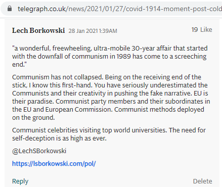 Lech S Borkowski comment in The Telegraph 27 January 2021