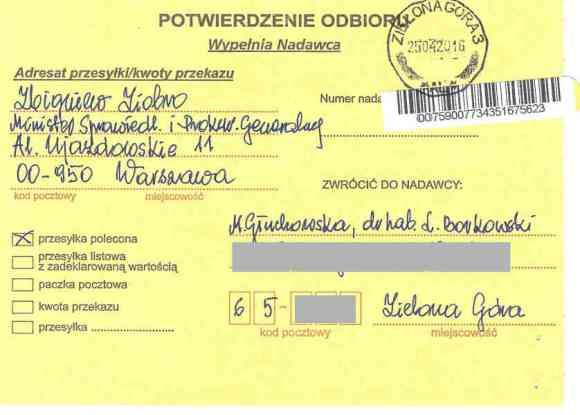 Potwierdzenie dostarczenia listu poleconego Małgorzaty Głuchowskiej i Lecha S Borkowskiego do prokuratora generalnego Zbigniewa Ziobro 25 kwietnia 2016, strona 1