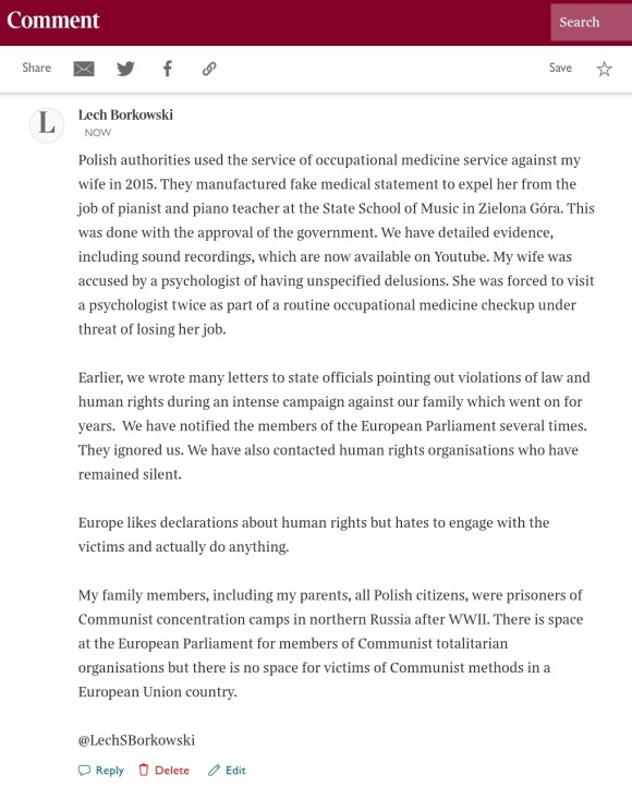 Lech S Borkowski comment The Times 23 February 2021