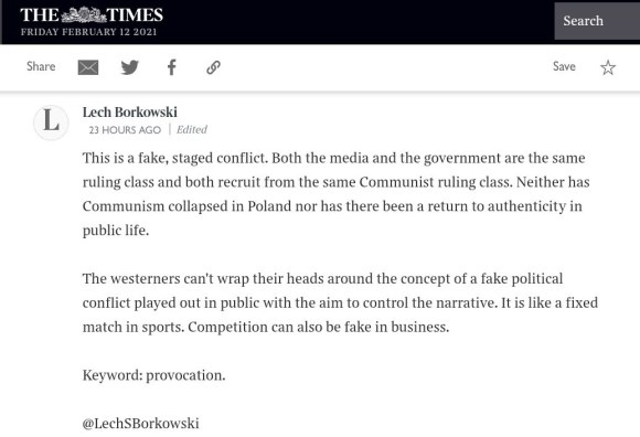 Lech S Borkowski comment in The Times 10 February 2021