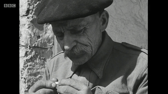 Eugeniusz Okołowicz, photographer, former Polish Army WWII soldier, at the Penygaer Farm in Carmarthenshire, Wales, in 1960 documentary Borrowed Pasture