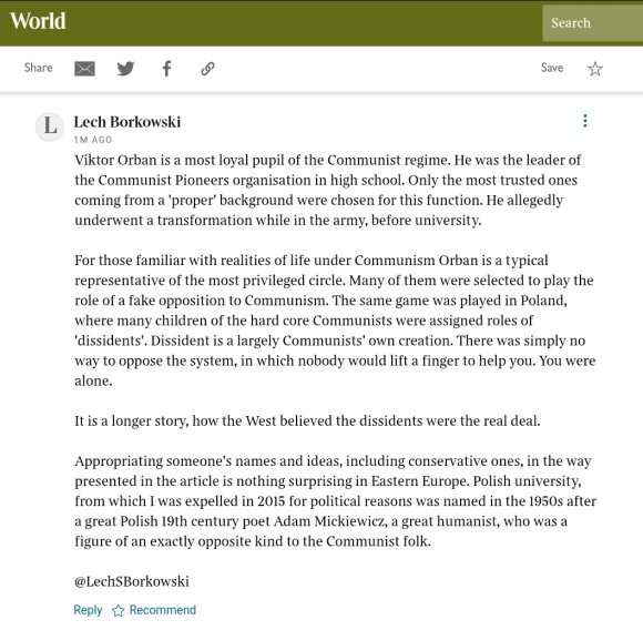 Lech S Borkowski comment in The Times 15 June 2021