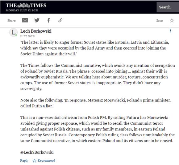 Lech S Borkowski comment The Times 12 July 2021