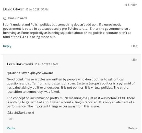 Lech S Borkowski comment The Telegraph 15 July 2021