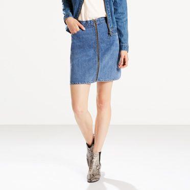 Orange Tab Zip Front Skirt - trends2017