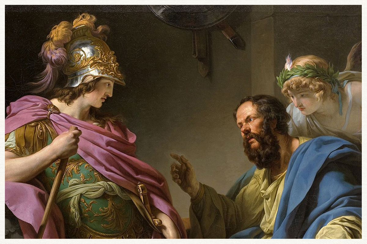 Alcibades being taught by Socrates painted by Francois Andre Vincent