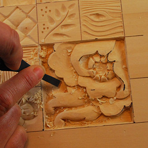 Relief carving low bas linenfold study